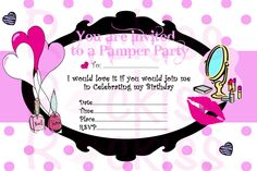 Pamper Party Invitation- make-up party ready for any little girls party -INSTANT DOWNLOAD digital file ready for printing. $4.50, via Etsy.