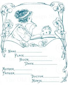 I've added nine newillustrations from avintage babybookto my Etsy shop. They are from a book titled, Baby's Year Book, circa 1919. Birth Details: Baby's Weight: Baby's…