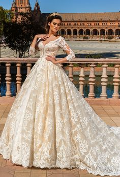 crystal design 2017 bridal three quarter sleeves v neck full embellishment ivory color princess ball gown a  line wedding dress monarch train (amelia) mv