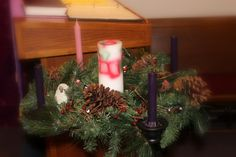 Focus on Christmas 2013 - Closeup on the Advent Wreath. The center / Christ candle was made by an artisan at Zoar Historical Village in Zoar, Ohio Christ The King, Advent Wreath, Lutheran, Ohio, Artisan, Wreaths, Candles, Table Decorations, Christmas