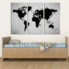 Wood world map wall art carved 3 panel home decor wood wall art 3 panel black white world map canvas art print world map canvas printing for home gumiabroncs Gallery