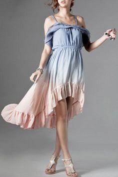 Flouncing Irregular Hemline Strappy Dress
