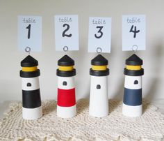 Lighthouse Table Number Nautical Wedding Wedding by 2HeartsDesire New Larger Size  Made By Us. Please Shar