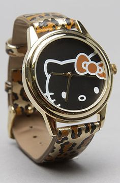 The Hello Kitty Alloy Round Case Leopard Watch in Brown by *Accessories Boutique #karmaloop #soshoeme