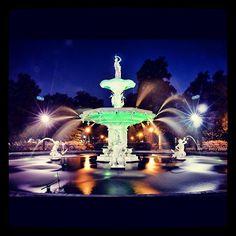 Night shot of the Forsyth Park Fountain still green from St. Patrick's Day festivities! Savannah, GA
