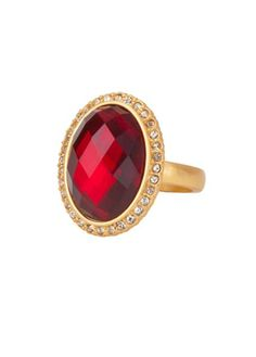 CORSICA RING GARNET CRYSTAL GOLD FINISH SIZE 6