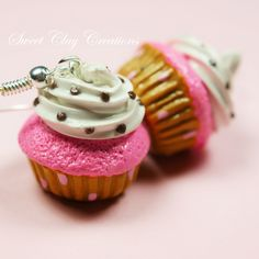 Polymer Clay Pink Gold Cupcake Earrings Miniature Food Jewelry by Sweet Clay Creations