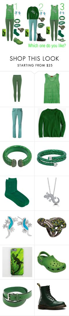 """""""Which Gekko outfit do you like?"""" by sierra-ivy ❤ liked on Polyvore featuring Missoni, Etro, J.Crew, Swarovski, agnès b., BERRICLE, Kenneth Jay Lane, Crocs, Jil Sander and Dr. Martens"""