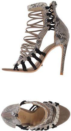 SCHUTZ Sandals - SCHUTZ Sandals. snakeskin print, logo, animal pattern, zip closure, round toeline, leather lining, leather sole, stiletto heel, contains non-textile parts of animal origin. Soft Leather