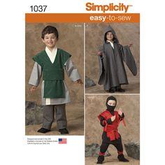 Star Wars Jedi, Wizard, Ninja - Easy To Sew Costumes - Simplicity Sewing Pattern 1037 Wizard Costume, Boy Costumes, Cosplay Costumes, Halloween Costumes, Samurai Costume, Warrior Costume, Pajama Pattern, Cape Pattern, Boys Sewing Patterns
