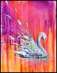 Swan Art Print Swan Wall Art Wall Decor Bird by BlackInkArtz