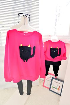QZZ266 Winter cute cartoon 1 6Y kids thick fleece warm family matching clothes mother daughter long sleeve family look outfits