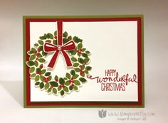 Order Stampin' Up! Products On-Line Wondrous Wreath stamp ideas for handmade holiday cards. Mary Fish, Independent Stampin' Up! Homemade Christmas Cards, Christmas Cards To Make, Noel Christmas, Stampin Up Christmas, Xmas Cards, Homemade Cards, Handmade Christmas, Holiday Cards, Stamped Christmas Cards