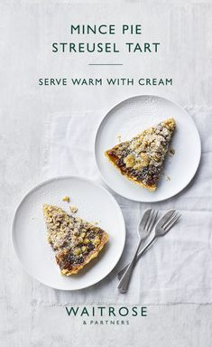 Perfect for sharing, our mince pie streusel tart makes a beautiful festive bake. Dust with icing sugar to finish. Click on the image for the full Waitrose & Partners recipe.