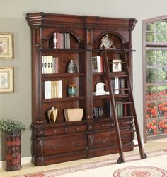 The Versailles Double Library Bookcase Set with Ladder