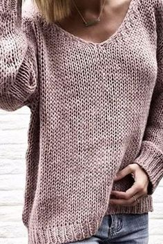 V Neck Long Sleeve Plain Knitting Casual Sweaters – streetwearlooks