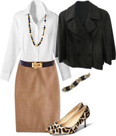 **4/21/15 VV tan skirt, white linen top, ON black blazer, leopard flats