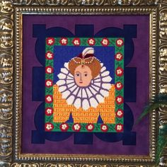 Tudor Lady, a painted canvas by English artist Jane Tattersfield. We published a wonderful stitch guide in our January/February 2017 issue, and the finished piece, stitched by Needlepoint Now editor Elizabeth Bozievich, adorns our office.