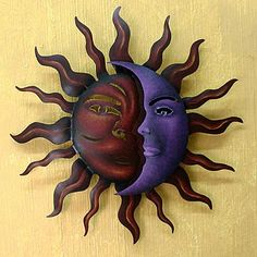Sun and Moon Steel Wall Art - Romantic Duality   NOVICA Metal Tree Wall Art, Metal Wall Sculpture, Wall Sculptures, Metal Art, Outdoor Wall Art, Indoor Outdoor, Outdoor Decor, Outdoor Spaces, Sun Art