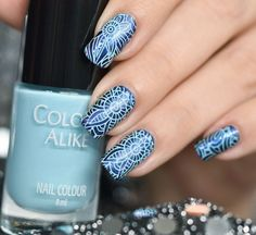 COLOUR ALIKE BLUE SKY with Bundle Monster Collection Paisley Flow plate ~ by Nail Art Sakura