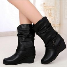 Mid-calf Sweet Wedge Single Riding Boots Buckle High Heel New Arrival Woman Shoes Autumn 2015 Pigskin Sleeve Full Grain Leather