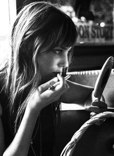 Getting ready to go out never looked so good! Jane Birkin, 1970 http://www.lisaeldridge.com/video/26437/alexa-chung-makeup-tutorial-starring-alexa-chung/