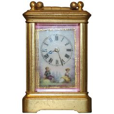 Late 19th Century French Porcelain Mounted Miniature Carriage Timepiece | From a unique collection of antique and modern clocks at https://www.1stdibs.com/furniture/more-furniture-collectibles/clocks/