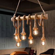 Aiwen Hemp Rope Chandelier Pendant Light Ceiling Lamp(Bulbs not Included) Brown 6 lamp holder Industrial Pendant Lamps, Vintage Pendant Lamp, Bamboo Lamp, Pendant Lamp, Rope Pendant Light, Rope Chandelier, Country Ceiling Lights, Dining Light Fixtures, Rope Light