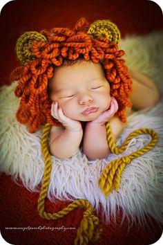 Bebé recién nacido Niño foto Prop León sombrero