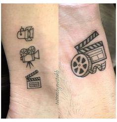 Mini Tattoos, Cute Tattoos, Body Art Tattoos, Small Tattoos, Geek Tattoos, Tatoos, Camera Film Tattoo, Camera Tattoo Design, Cinema Wallpaper