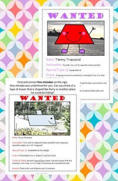 Quadrilaterals Activity- Wanted Signs for Distance Learning Maths Fun, Math Activities, Teaching Shapes, Teaching Math, Grade 2, Third Grade, Plane Figures, Quadrilateral, Math Division