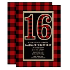 Rustic Red Black Buffalo Plaid 16th 16 Birthday Card - invitations personalize custom special event invitation idea style party card cards