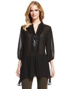 M&S Collection Bead & Sequin Embellished Mesh Dippy Hem Tunic - Marks & Spencer