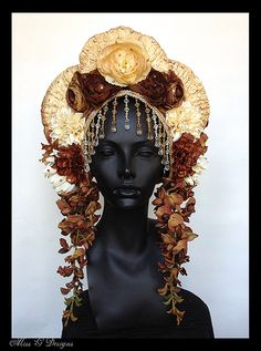 MADE TO ORDER Brown & Ivory Flower Headdress by MissGDesignsShop, $350.00