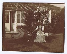 Young Edwardian Girl in Garden with Pet Dog - Antique photograph c1905
