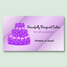 Pink polka dot cake business card pink cake business and dots designer purple wedding cake business card reheart Image collections