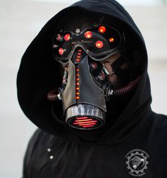 The Code Ripper - Cyberpunk light up LED strobing/blinking respirator gas mask + LED goggles - choose separate or as a set.