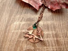 Necklace Copper Pendant Bird on Branch by CopperyArt on Etsy