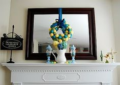 Easter egg Wreath. Looks so pretty on that mirror!