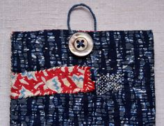 passport pouch in vintage and antique Japanese cottons hand sewn and mended, inspired by sashiko and kantha...    the outer fabrics are in traditionnal