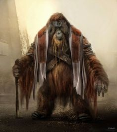 Awesome Dawn Of The Planet Of The Apes concept art by Aaron Sims Company Dawn Of The Planet, Planet Of The Apes, Fantasy Races, Fantasy Rpg, Character Inspiration, Character Art, Character Design, Wow Art, Creature Design