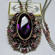 Art Nouveau Czech Necklace Bohemian Amethyst Glass Enamel Leaves Gold from adore on Ruby Lane