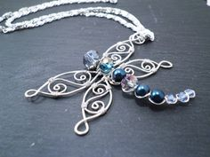 Dragonfly Necklace Sterling Silver Wire by SerenityInChains