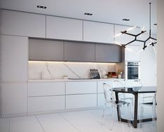 Living trend marble: Modern kitchen equipment for a luxurious appearance - marble kitchen back wall white kitchen furniture dining table made of wood and transparent plastic - White Kitchen Furniture, Black Kitchen Decor, Kitchen Room Design, Kitchen Cabinet Design, Modern Kitchen Design, Home Decor Kitchen, Interior Design Kitchen, Kitchen Grey, Kitchen Ideas