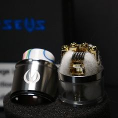 Dual coil build on Perseus RDTA by Ambitionzvaper. Perseus RDTA also comes with a ceramic block for single coil build.