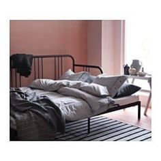 IKEA - FYRESDAL, Daybed with 2 mattresses, black/Minnesund firm, , Two functions in one - sofa in the day and bed at night.Get all-over support and comfort with a resilient foam mattress. Sofa Cama Ikea, Ikea Daybed, Daybed With Trundle, Large Cushion Covers, Large Cushions, Lit Banquette 2 Places, Canapé Convertible Design, Day Bed Frame, Bed Lifts