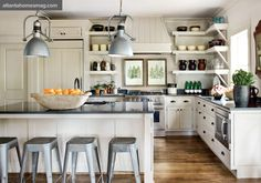 white, open shelving, quartz counters, industrial lighting and stools
