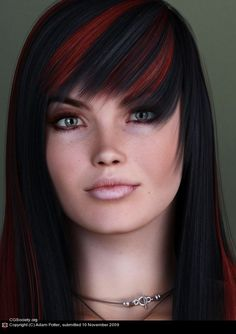 Black Hair   3d woman with black hair and dyed red stripes Artist of the week Adam ...