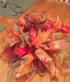 Hey, I found this really awesome Etsy listing at https://www.etsy.com/listing/248826519/fall-centerpiece-thanksgiving-deco-mesh