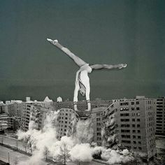 Collage by Bene Rohlmann. Gymnast and the 1972 demolition of the Pruitt-Igoe public housing complex in St. Louis, Missouri